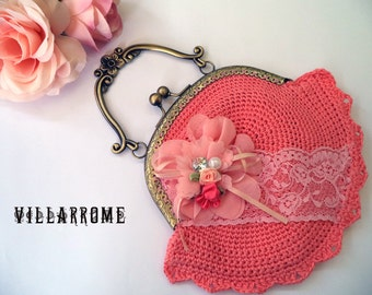 Coral romantic frame purse, shabby chic bag, wedding, bridal, party, bohemian bag, coral cotton, coral flower, pink lace, handmade, crochet
