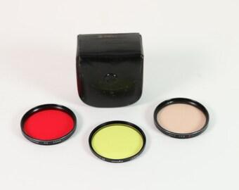 Vintage 55mm filter set of 3 - Red 2, Y 48, 81A