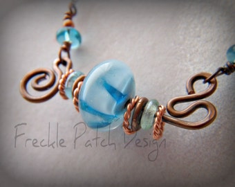 Memorial Necklace, Pet Cremains Hand-formed Copper and Lampwork , Price is Approx.