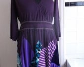 blue purple plus size recycled peacock flutter dress top uk size 20 22 24