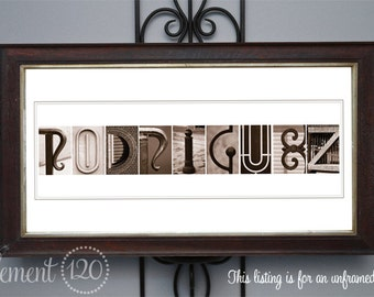 Custom Alphabet Photography - Sepia Letter Art, Frame on your own 10x20 print