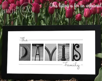 Alphabet Photo Letter Art Print - Special Wedding Gift, Anniversary Gift - Frame on your own 10x20
