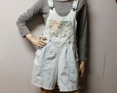 Vintage 80s  light wash  Denim Shortalls/Overalls Shorts - Sz Medium