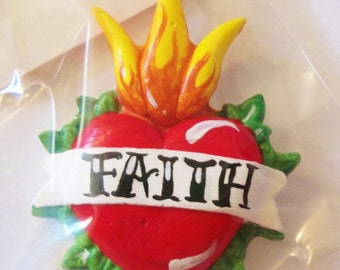 Sacred heart refrigerator magnet, FAITH magnet, rockabilly, day of the dead, tattoo