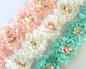 "Fancy Shabby Rose Trim with rossette & pearls  2.5"" Shabby chiffon Flowers applique YOU PICK blush aqua white  Wholesale Rosette trim 6cm"