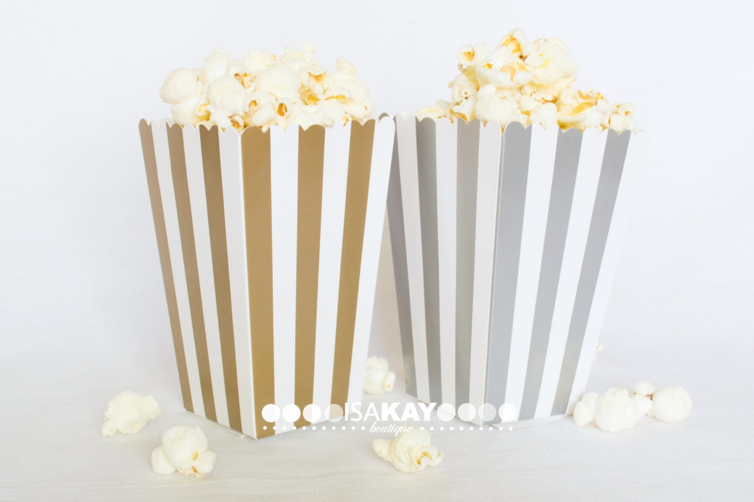 Gold or Silver Treat Boxes popcorn boxes stripe printed party
