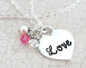 Love Necklace | Heart Necklace | Sterling Silver Heart Jewelry | Engraved Heart | Swarovski Crystals | Romantic Jewelry | Silver Heart