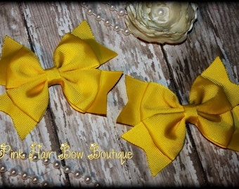 Yellow Pigtail Hair Bows