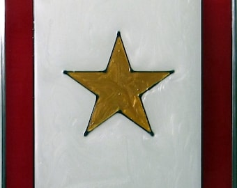 Hand painted Gold, Blue or Blue and Gold Service Flag Suncatcher
