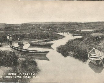 Herring Stream East White Horse Beach Massachusetts Vintage Postcard Canoe Boats Men fishing and Canoeing Real Photograph Print