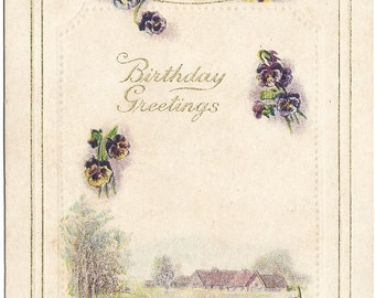 Delicate purple pansies accent this beautiful Vintage Postcard Country Meadow Scene Floral Birthday Greeting Samson Brothers