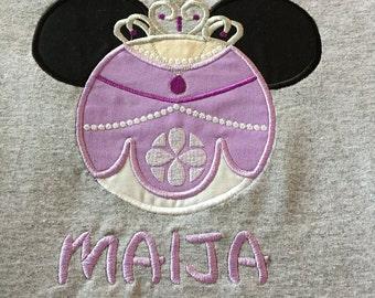 Custom Sofia mouse head personalized applique childrens shirt