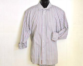 Vintage Mens Dress Shirt L/S Gitman Bros.Vertical Stripes Large 16 1/2 - 34 Oxford Collared Shirt 1990's Lime Green, Pink & Blues Pastels