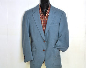 70's Vintage Mens Blazer 40R -L Faux Blue Suede Jacket Sport Coat Mod Fox Hunt Print Equestrian Fitted Trim Waist Retro Menswear