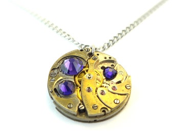 Steampunk Necklace Handmade From Vintage Clockwork With Royal Purple Swarovski Crystals SPN#-10130