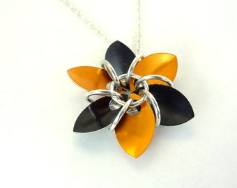 Orange And Black Halloween Flower Necklace