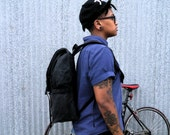 Black Roll top backpack, waxed canvas cycling backpack