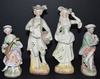 Vintage Fern Colonial Figurines / Bisque / Porcelain, Hand Painted / Japan / Set of Four / Stamped