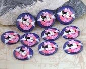 Circle Pink Minnie Mouse Handmade photo glass cabochon dome bead10mm 12mm 14mm16mm 18mm 20mm 22mm 25mm30mm Ear Brooch Ring Bracelet Necklace