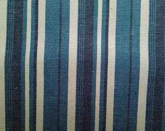Dark blue and ivory stripe, 1/2 yard, cotton linen blended fabric