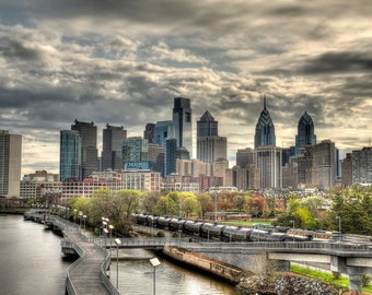 Philadelphia Skyline with Clearing Storm, Color Photograph, Urban Landscape, Pennsylvania, Liberty Place, Comcast Center, Sky, Art Print
