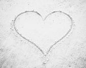 "Heart in Sand Art Print, Black and White Beach Photography, Love Grey Coastal Photograph, Pale Grey Beach Wall Photo, ""Heart in the Sand"""