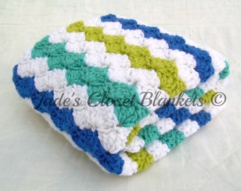 Crochet Baby Blanket, Baby Blanket, White, Green, Blue, and Aqua Waves, crib size