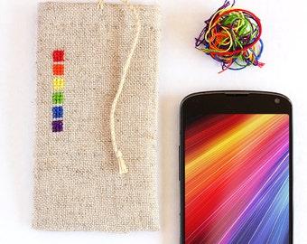 Love wins - phone case - iphone case - samsung galaxy case - nexus - hand embroidered