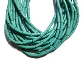 Turquoise Magnesite - Tube or Cylinder Bead - 13mm x 4mm - 31 beads - Full Strand
