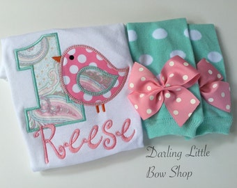 Baby Girl first birthday outfit - It's TWEET to be One - personalized bodysuit and leg warmers in pastel pink and aqua