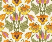 Orange Yellow Wild Flower Cotton Lawn Fabric Floral Green Vine 100% Sewing Cotton Lawn Fabric by the Yard