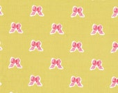 Pink on Green Bow Cotton Fabric Sweet Bow Print 100% Sewing Cotton Woven Fabric by the Yard