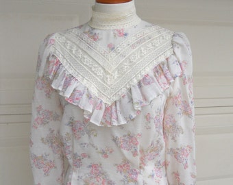 Vintage 70s Victorian Top . Lace Sheer High Neck Prairie Blouse . Puff Sleeve Button Back . Small