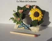 summertime sunflowers wreath country style - Miniature 1:12 scale for dollhouses