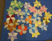 RESERVE for LORI  Quilt blocks:  120 hand-stitched scrappy cotton 6 pointed star/tumbling blocks in coordinating colors 1940's