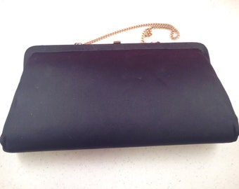 Vintage Black Formal Handbag with Optional Gold Chain Strap 10.75 Inches Wide 5.5 Inches High Previously Fifteen Dollars ON SALE