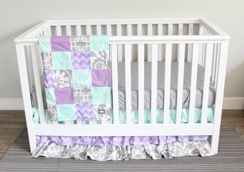 Baby Girl Nursery Bedding Set Lavender Purple Mint And Gray