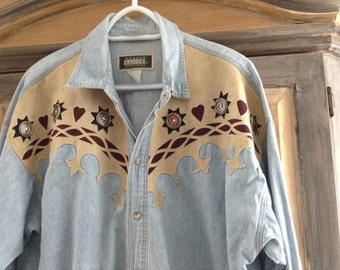 Size 2X Vintage Western Shirt With Fancy Leathery Yoke and Silver Concho Medallions