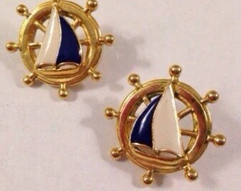 Vintage Anchor and Sailboat Round Pierced Earrings Bring Back All Things Nautical