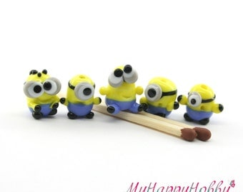 Minion Despicable me  Lampwork  Bead /  figurine/ sculpture/ miniature glass