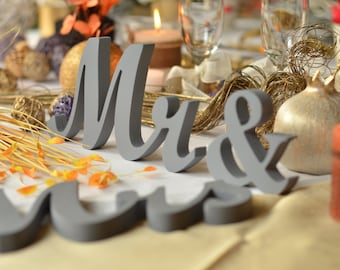 Freestanding Gray wedding sign *Mr*&* Mrs*, wooden letters Mister and  Missis . Wedding table decor. Sweetheart table decor wooden signs.