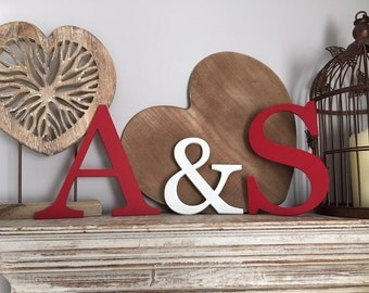 Wooden Wall Letters - Initials, Monogram - Set of 3 - Hand-painted - 8 inch and 6 ""