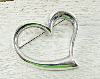 Vintage Sterling Silver Heart Brooch Pin, Large Heart Brooch, 1980s Fine Estate Vintage Jewelry, Gift for Mom Mother Grandma, Mothers Day