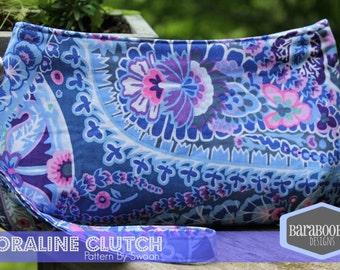 Coraline Clutch Wristlet strap in Kaffe Fassett Paisley Jungle periwinkle blue purple wedding bridal Purse