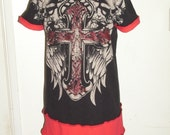 Upcycled Tshirt Dress Cross Wings Skulls Dropped Shoulder Tunic Red Black
