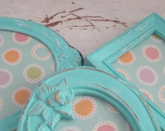 Shabby Chic Frame Collection of 3 -  Easel Back Table Top  Picture Frames Upped and Distressed in Aquamarine Turquoise