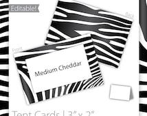 Animal Print Tent Cards (editable) - Zebra ~ Zebra Tent Cards, Jungle Tent Cards, Jungle Birthday, Animal Tent Cards - INSTANT Download