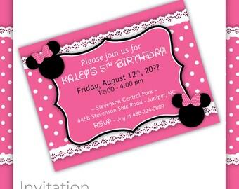 Kids Birthday - Minnie Mouse Invitation . PINK ~ Minnie Mouse Party Minnie Mouse Birthday Girls Birthday Minny Mouse Micky Mouse Pink Minnie