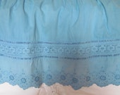 Vintage Eyelet Lace Skirt, Blue Lace, Vintage Lace, Bohemian Beach Skirt, Hand Dyed Turquoise Blue,OOAK Rustic Prairie Festival Skirt, MED