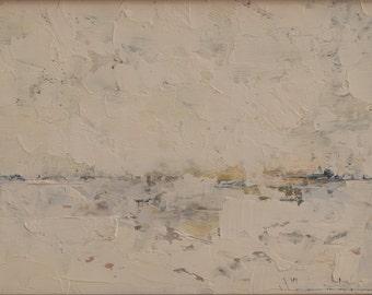 Pelham Field Pond, Winter - Original Oil Painting Landscape Painting by John W. Shanabrook, 5 x 7
